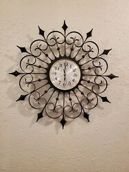 Vintage Welby Mid Century Modern Black Wrought Iron Atomic Starburst Wall Clock