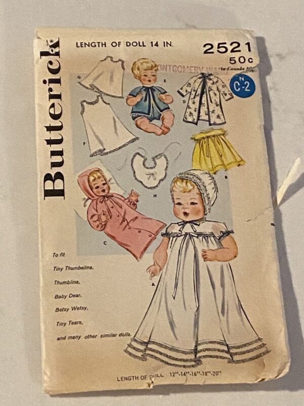 "Vintage 14"" Thumbelina Tiny Tears Layette Clothes Bonnet Bib Sewing Pattern"