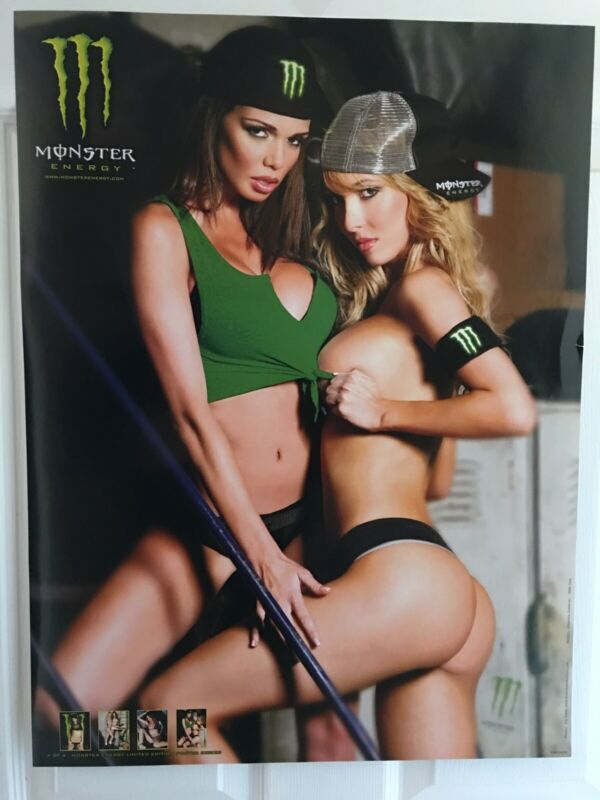 Sexy Monster Energy Poster Of 2 Hot Girls