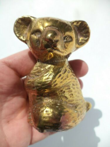 "3"" VINTAGE HOLLOW CAST BRASS KOALA BEAR FIGURINE SCULPTURE MINIATURE ENGLAND"
