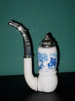 Avon Cologne Bottle (AVON Blue Tribute Cologne Dutch Pipe Figurine Perfume Bottle some liquid 4 1/2