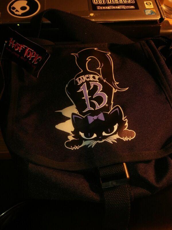 New Hot Topic LUCKY 13 BLACK Cat Messenger BAG Shoulder Purse Purple 🐱 Kitty