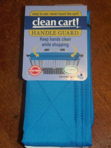 BLUE Clean Shopping Cart Handle Guard Reusable Cover Washable Wipeable. (PO-1)