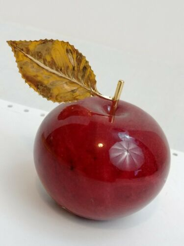 Ducceschi Genuine Alabaster Apple Paperweight Red Stone Gold Leaf Made in Italy
