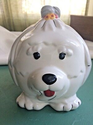 2018 Wells Fargo Chinese New Year Of The Dog Coin Bank White Ceramic Shih Tzu