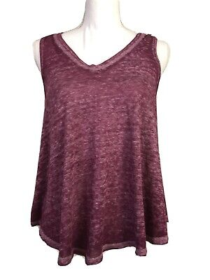 Free People We The Free Womens Small Raspberry Breezy Burnout Tank Sheer #Q410