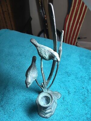 (Birds On Cattails With CANDLE HOLDER. Metal Made To Look Like Aged Copper.)
