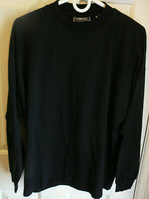 Vintage Versace Classic V2 Size L Black Long Sleeve Mock Turtleneck Cotton Shirt