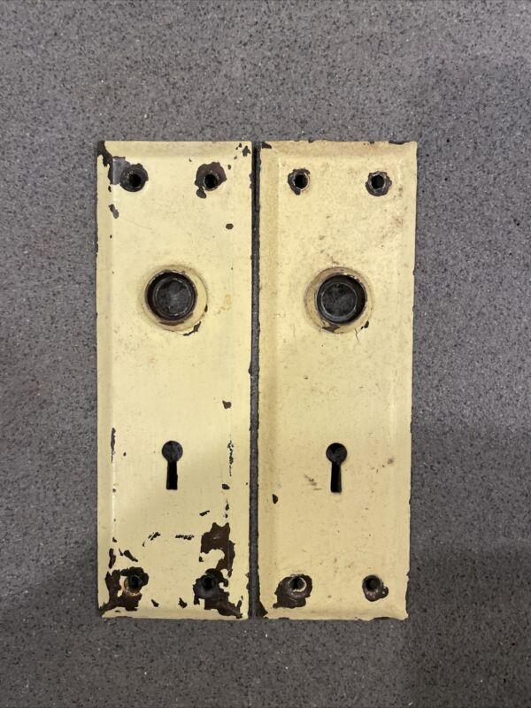 PAIR Antique/Vintage Door Plates, Backplates, Escutcheon, Back Plate, Brass