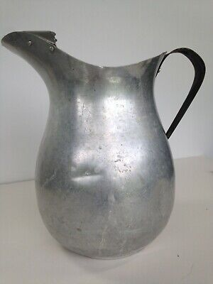 Vintage aluminum water pitcher farmhouse distressed, ice guard, rusted handle