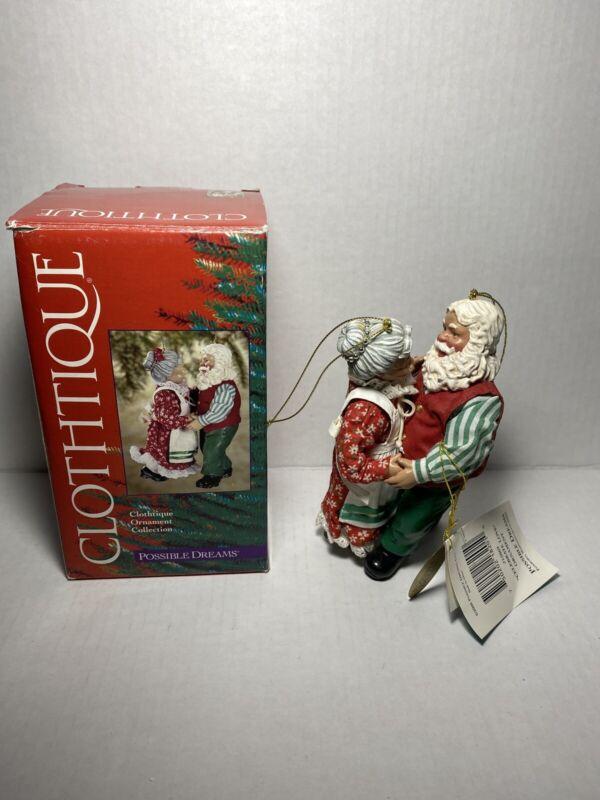 Possible Dreams Clothtique Celebrate Love Ornament 2000 Santa & Mrs Claus Danc