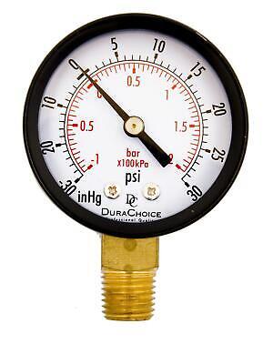 1-12 Utility Vacuum Pressure Gauge - Blk.steel 18 Npt Lwr Mnt -30hg30psi