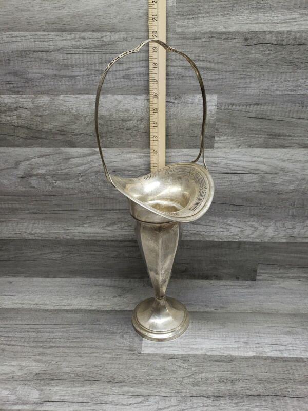"""29oz Huge 19.5"""" Sterling Silver Victorian Basket Vase Impressive Centerpiece"""