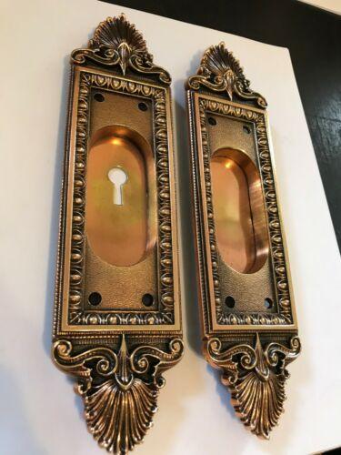 "2 OLD 9 1/2"" ARTS CRAFT DECO NOUVEAU VICTORIAN CAST POCKET BARN DOOR PULL PLATES"