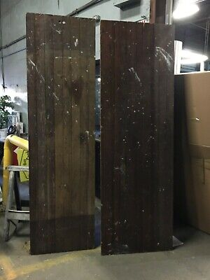 "c1880 pair bead board panels ORIGINALLY floor panels church Salvage 94"" x -"