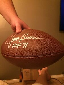 Signed Jim Brown NFL Football and display case