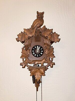 German & Carved Wooden Cuckoo Clock - VINTAGE