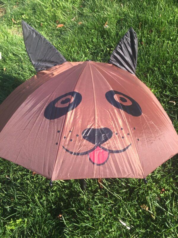 Brown Dog w/Ears Kid's Umbrella NEW