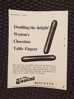 Weston's Biscuits - Chocolate Table Fingers - 1949 Advertisement - Weston Chocolate