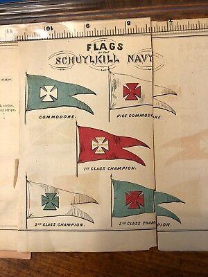 Schuylkill Navy Boat Club 1870 Rowing Crew  Regatta Flags Philadelphia Rules