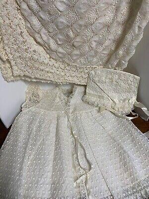 Sheer Embroidered Christening Outfit Dress Bonnet Slip Jacket Madonna W Blanket Christening Sheer Dress