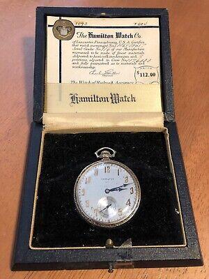 Vtg 14K Solid Yellow Gold Hamilton 916 12S Pocket Watch 1923 1929 Mint W/ Box