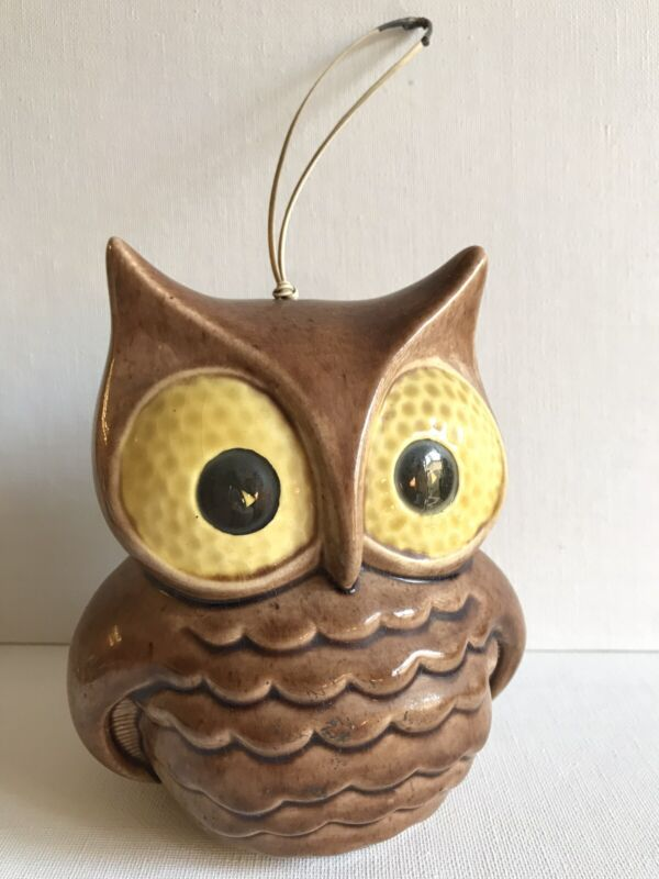 Vintage Colorado Pottery Owl Hanging Light Lantern Big Eye Mid Century Garden