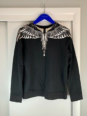 Marcelo Burlon County of Milan White Wings Crewneck Sweatshirt Black Small MINT