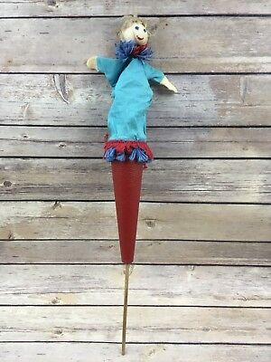 Vintage Peek A Boo Pop Up Girl On Wooden Stick In Cone Puppet Toy Children Fun
