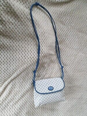 Authentic vintage Gucci Blue GG logo Small Handbag Messenger acrossbody bag used