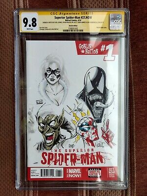 Spider-Man/Venom/Black Cat/Green Goblin Jam Sketch Cover CGC 9.8. Gomez covid 19 (Black Spider Man Venom coronavirus)
