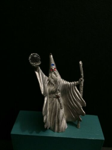 Spoontiques Wizard Merlin Crystal Ball Red Eyes Pewter Figurine Miniature AD&D