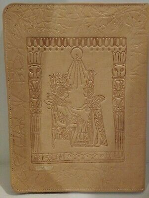 Very Neat Vintage Egyptian Themed Leather Writing Pad Folder