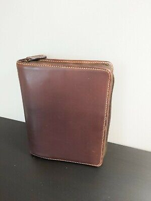 Franklin Covey Compact Full Grain Leather Planner Binder Only Brown Authentic