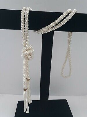 Vintage Faux Seed Pearl Bead Rope Tassle Lariat Necklace 63 inch Faux Pearl Rope