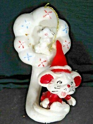 Vintage Mice Mouse Playing Tuba Blow Mold Christmas Ornament Rare B1269