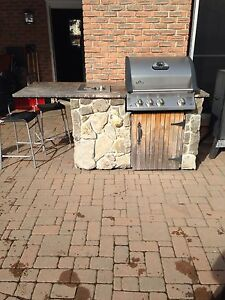 Stone built in BBQ with burner