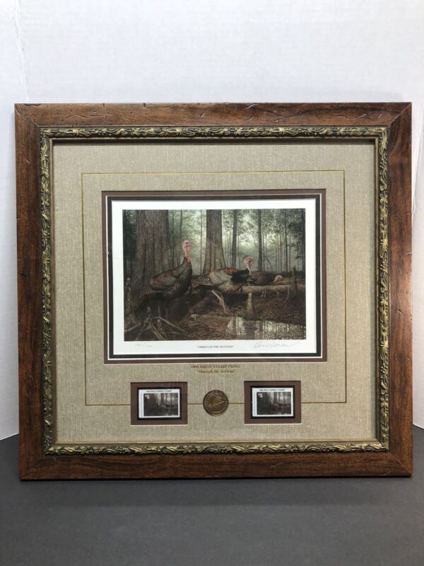 NWTF David Lanier THROUGH THE BOTTOM LE SIGNED Print With Coin & Stamps Numbered