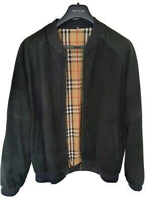 Mens black BURBERRY suede bomber jacket/coat size EU54 UK44 XL RRP £1,490
