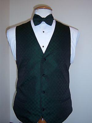 Tone Vest Tie Set (Hunter Green Formal Vest and Tie set - Tone on Tone Four Button Full Back Vest  )