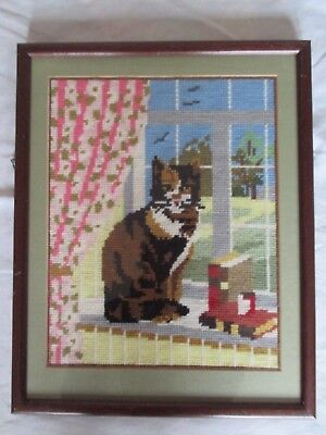 Vintage Needlework Framed picture of a Cat Sitting on a Window Sill