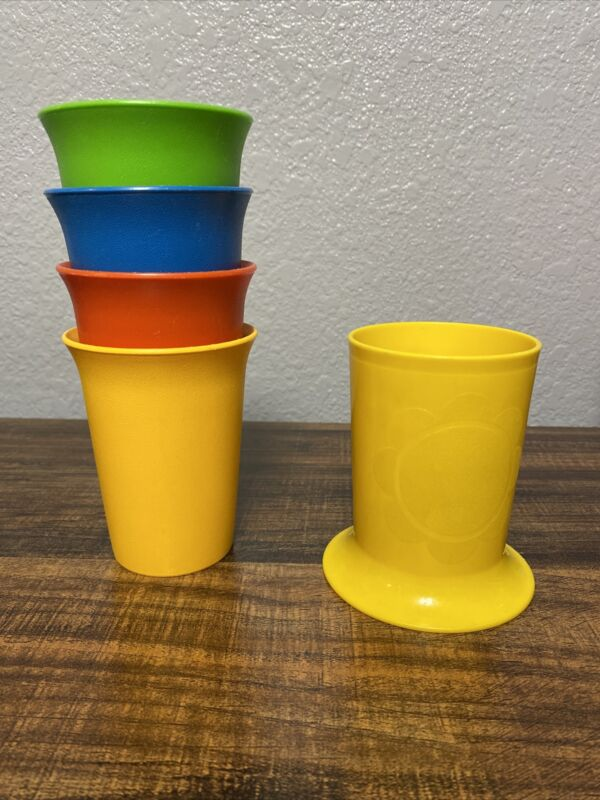 5 Vintage Tupperware Bell Tumblers 109-42 1318-7 Daisy Cup MCM Retro Plastic Cup