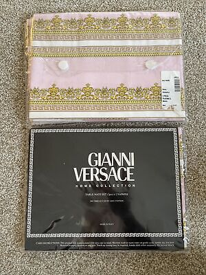 Gianni Versace Home Collection Pink Table Mats Set 2 Pc + 2 Napkins 15X20 $300