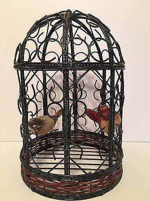 """Vintage Heavy Gauge Wire Hanging BIRD CAGE Decor 13 1/2 """" H"""