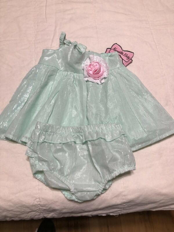 Nannette Baby Size 6-9 Months Dress And Panty Set Green Pink Set