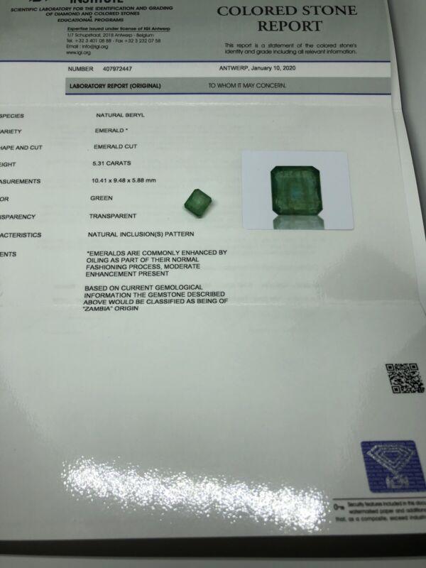 IGI Certified Natural Green Zambia Emerald 5.31 Ct Size 10.41*9.48*5.88 Mm #2447