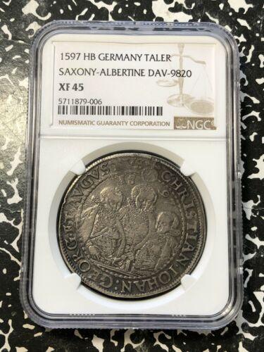 1597 HB Germany Saxony-Albertine 1 Thaler NGC XF45 Lot#G187 Silver!