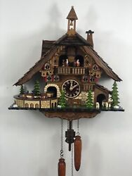 Black Forest Chalet Quartz   Cuckoo Clock with moving Train , # 48110 QMT New