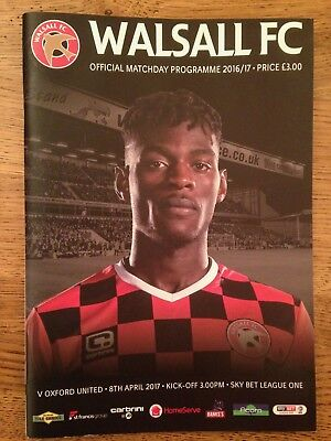 Walsall v Oxford United - League 1 - 8th April 2017 - Football Programme