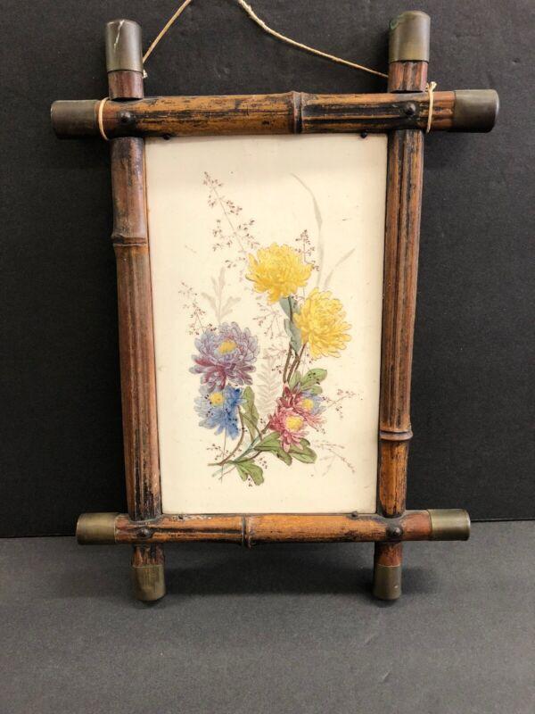 Vintage Antique Victorian Floral Botanical Tile In Bamboo And Brass Frame